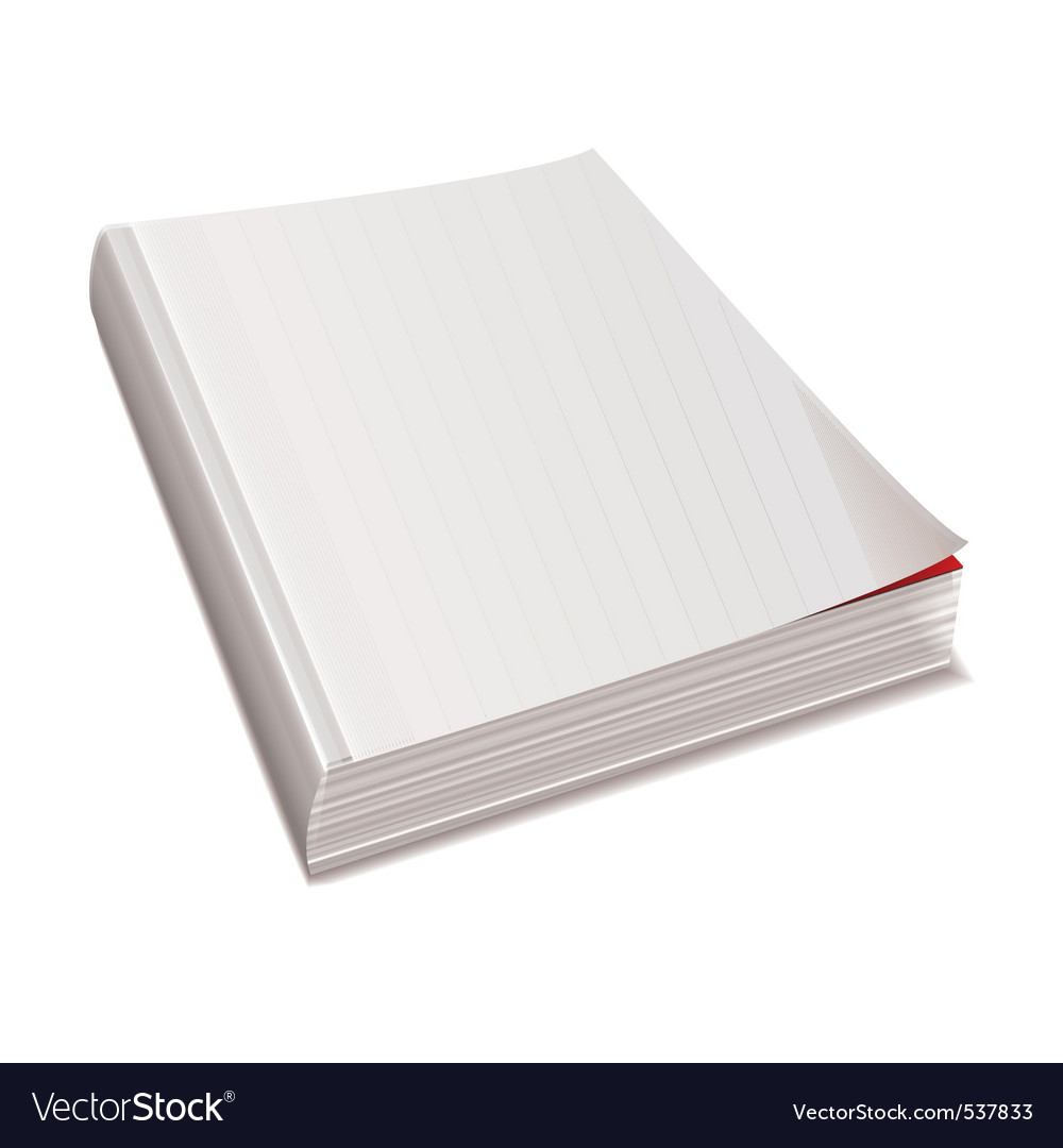 Blank white paper back book with shadow spine vector | Price: 1 Credit (USD $1)