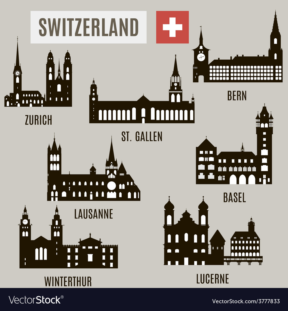 Cities in switzerland vector | Price: 3 Credit (USD $3)