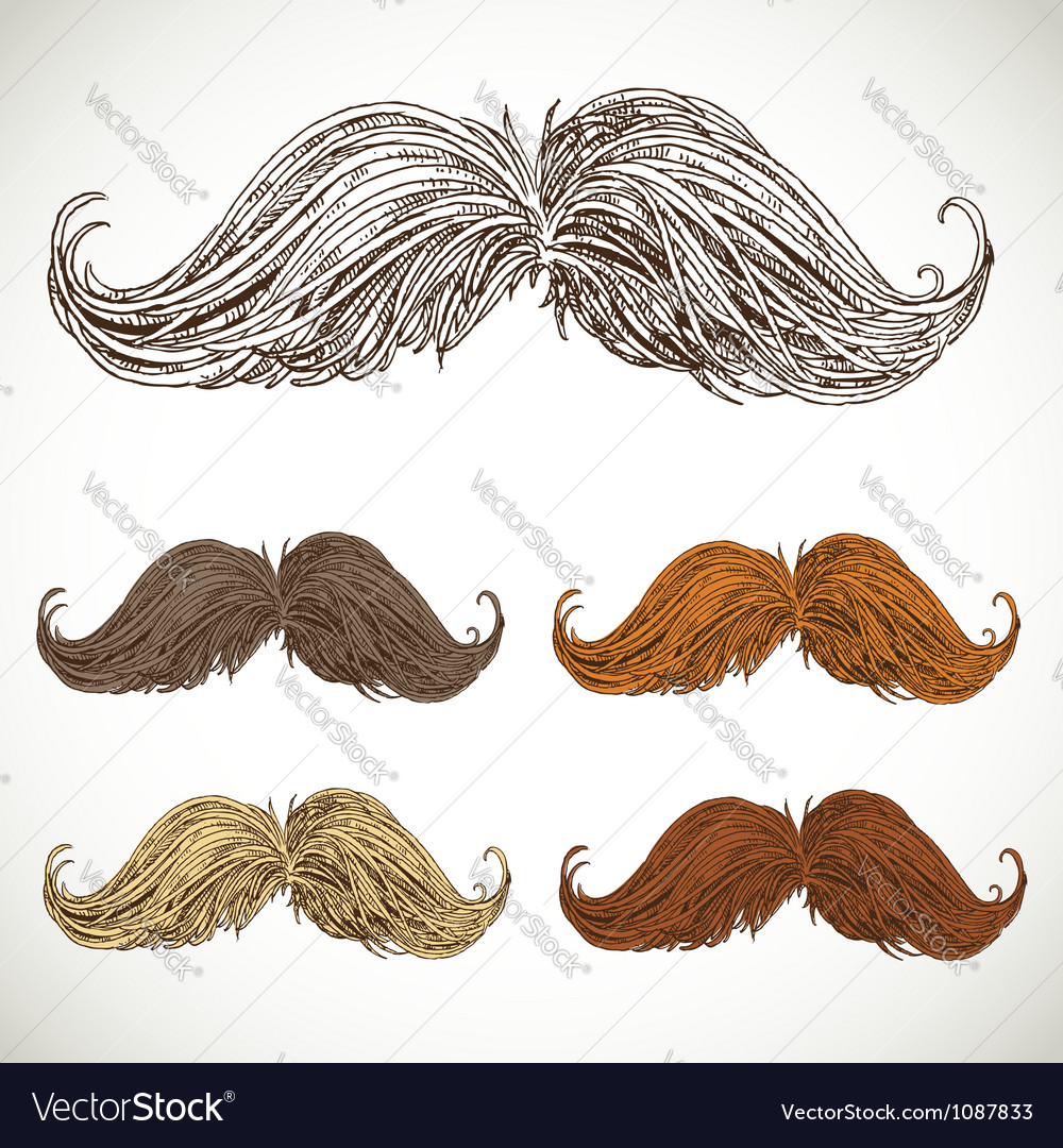 Classic retro twisted mustache set vector | Price: 1 Credit (USD $1)