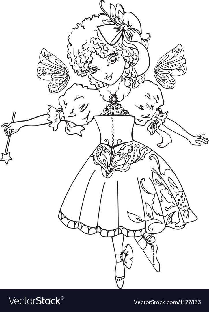 Fairy cartoon outline drawing vector | Price: 1 Credit (USD $1)