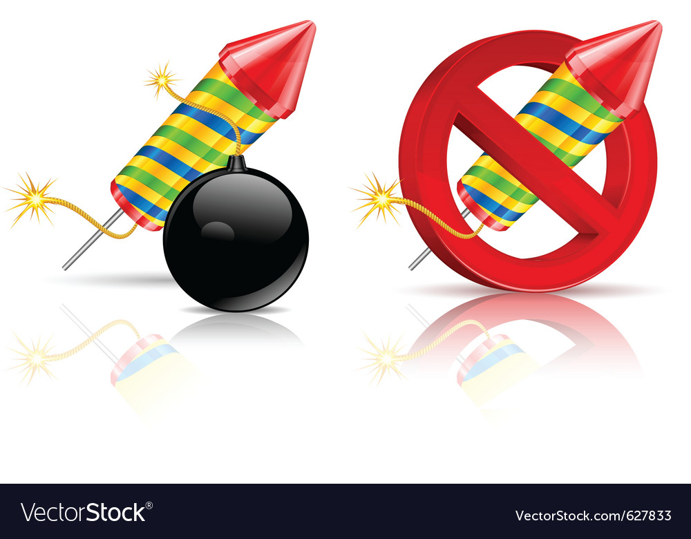 Firework rockets bomb and stop sign on white vector | Price: 1 Credit (USD $1)