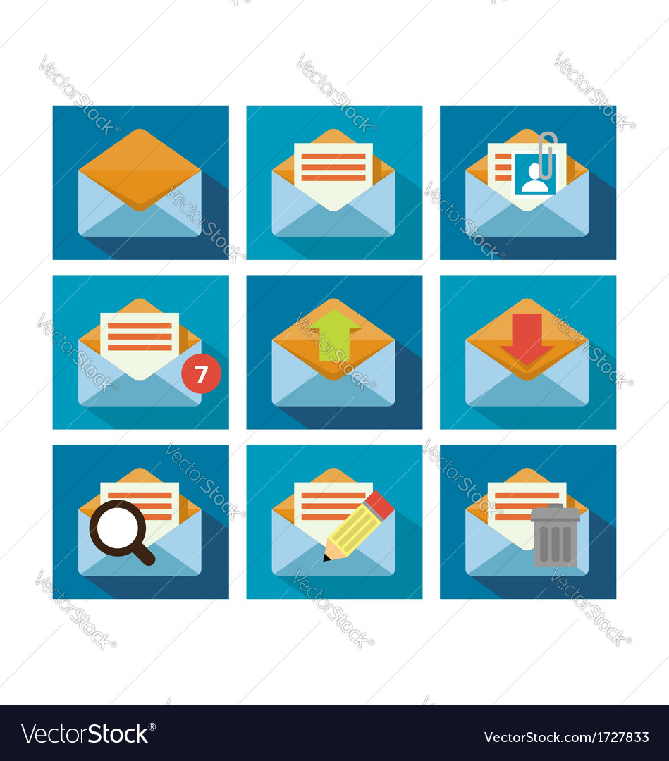 Flat icon design mail vector | Price: 1 Credit (USD $1)