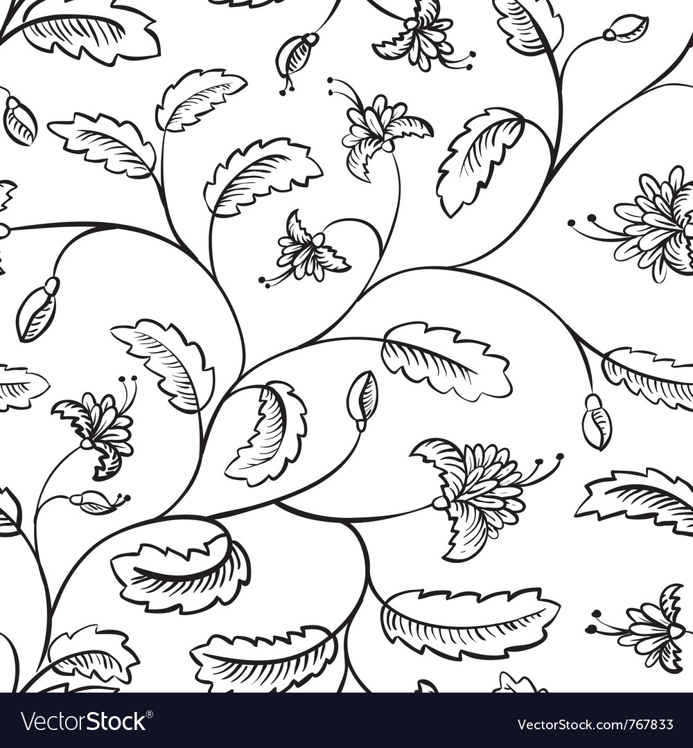 Floral abstract doodle seamless vector | Price: 1 Credit (USD $1)