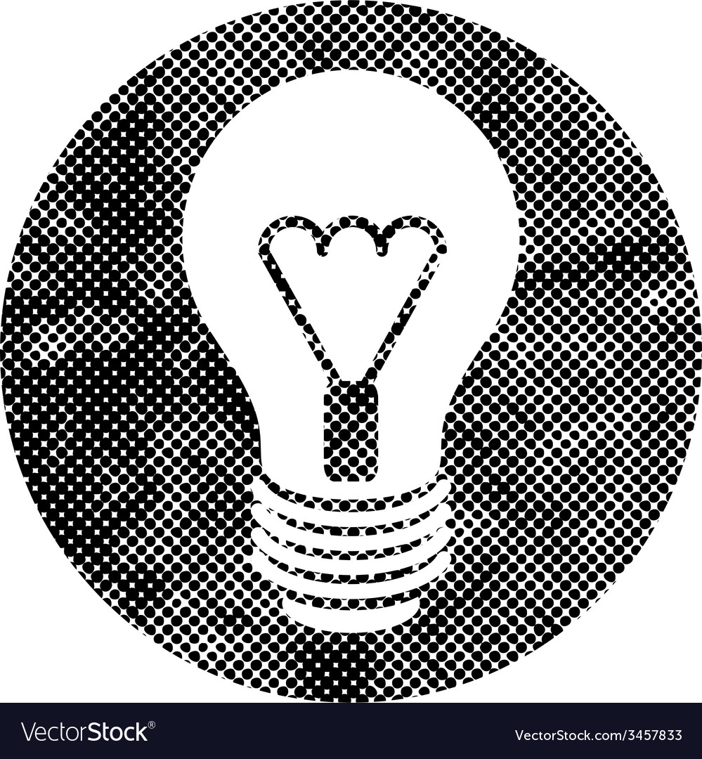 Light bulb icon with pixel print halftone dots vector | Price: 1 Credit (USD $1)