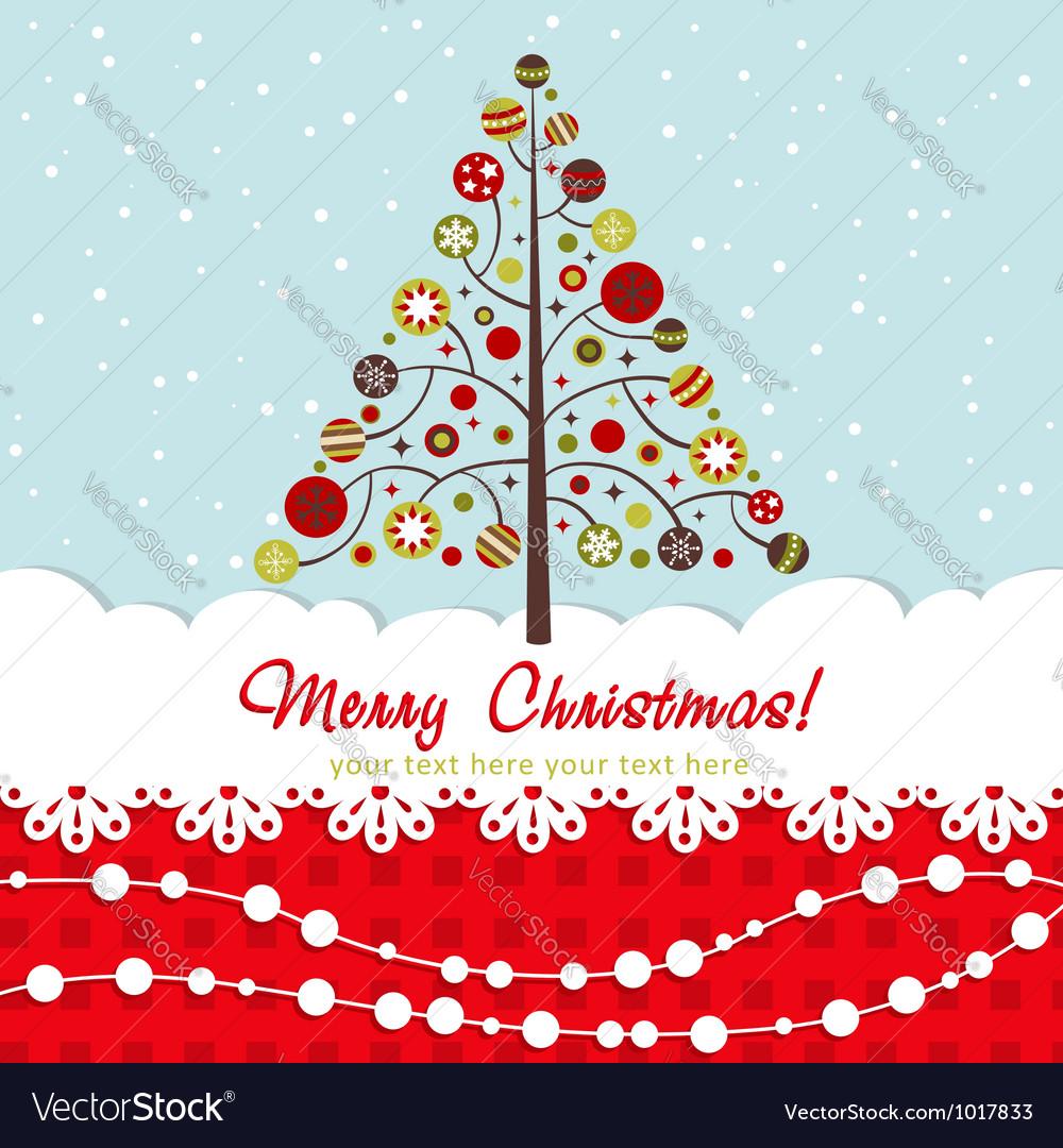 Ornate christmas card with xmas tree vector | Price: 1 Credit (USD $1)