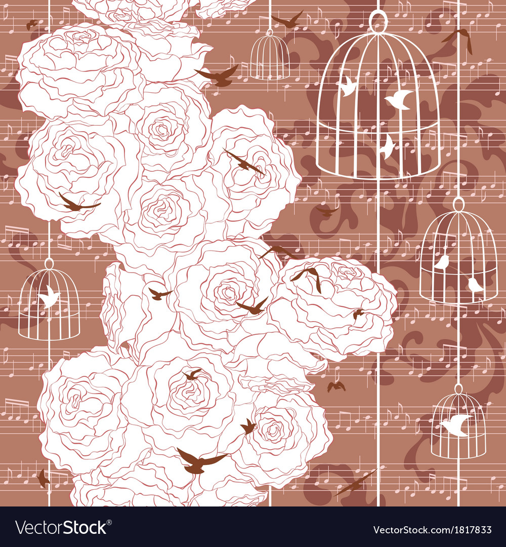 Seamless pattern with roses and flying birds vector   Price: 1 Credit (USD $1)