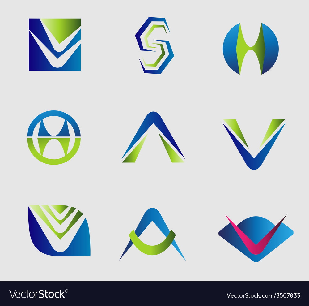 Set of alphabet letter logo element symbol v a s vector | Price: 1 Credit (USD $1)