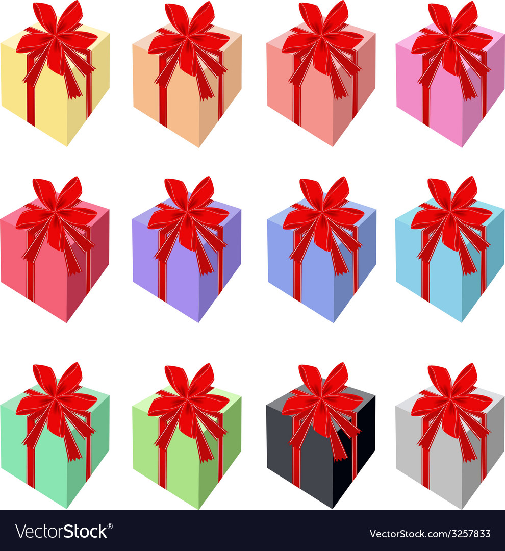 Set of beautiful gift boxes with red ribbon vector | Price: 1 Credit (USD $1)