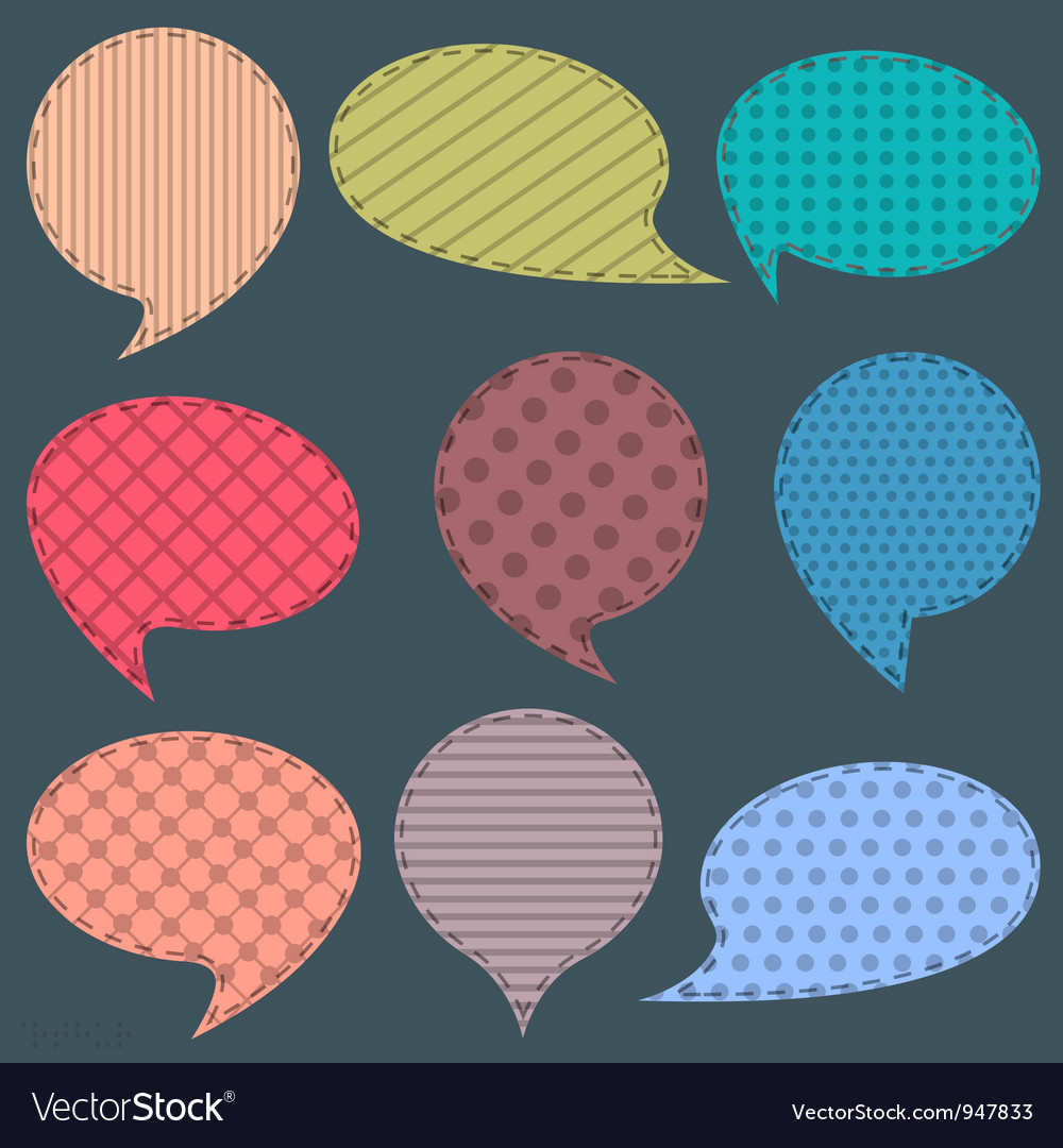 Set of textile speech bubbles vector | Price: 1 Credit (USD $1)