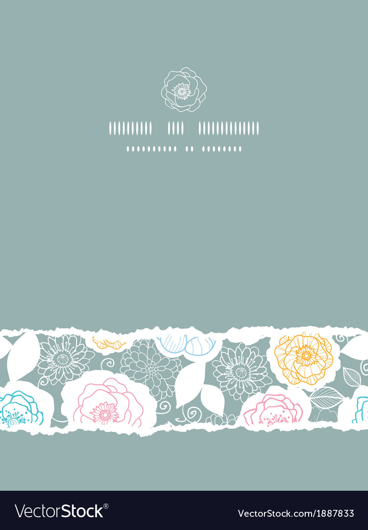 Silver and colors florals vertical torn seamless vector | Price: 1 Credit (USD $1)