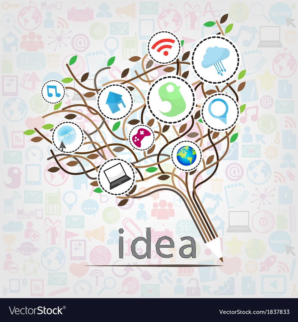 Social network education concept pencil tree vector | Price: 1 Credit (USD $1)