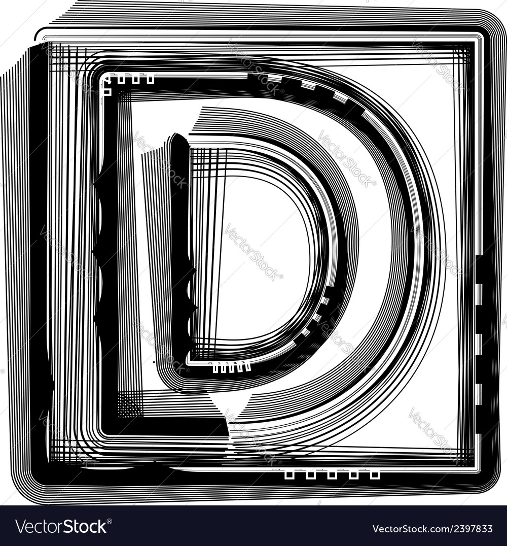 Striped font letter d vector | Price: 1 Credit (USD $1)