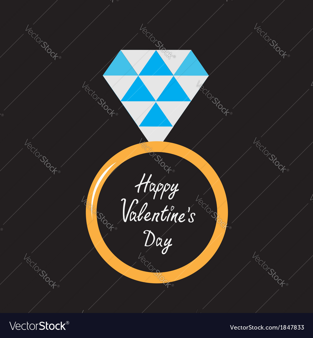 Wedding ring with diamond happy valentines day vector | Price: 1 Credit (USD $1)
