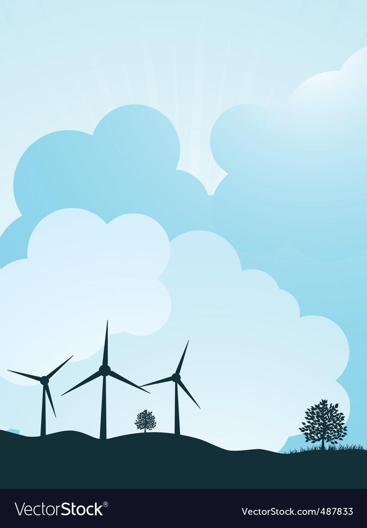 Wind turbine landscape vector | Price: 1 Credit (USD $1)