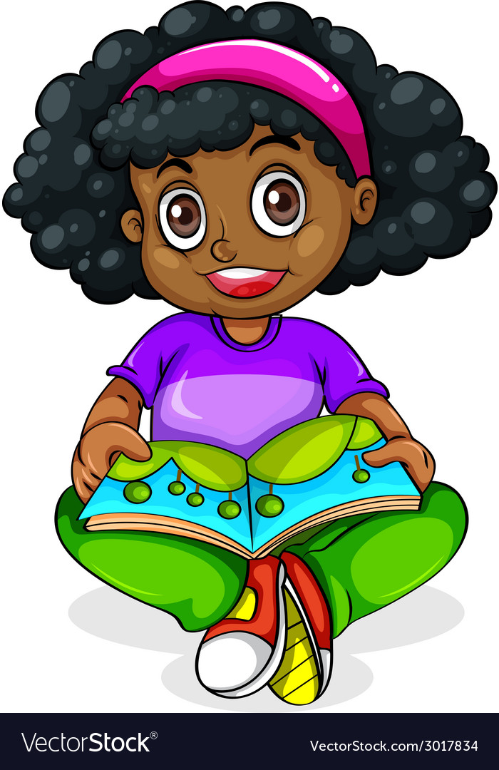 A black young girl reading vector | Price: 1 Credit (USD $1)