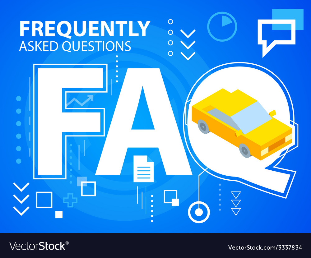 Bright faq and car on blue background for ba vector | Price: 3 Credit (USD $3)