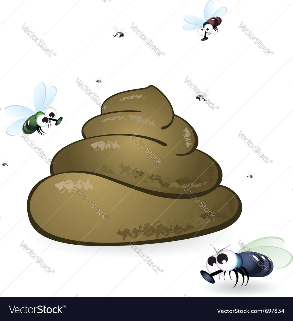 Cartoon feces and flies vector | Price: 1 Credit (USD $1)