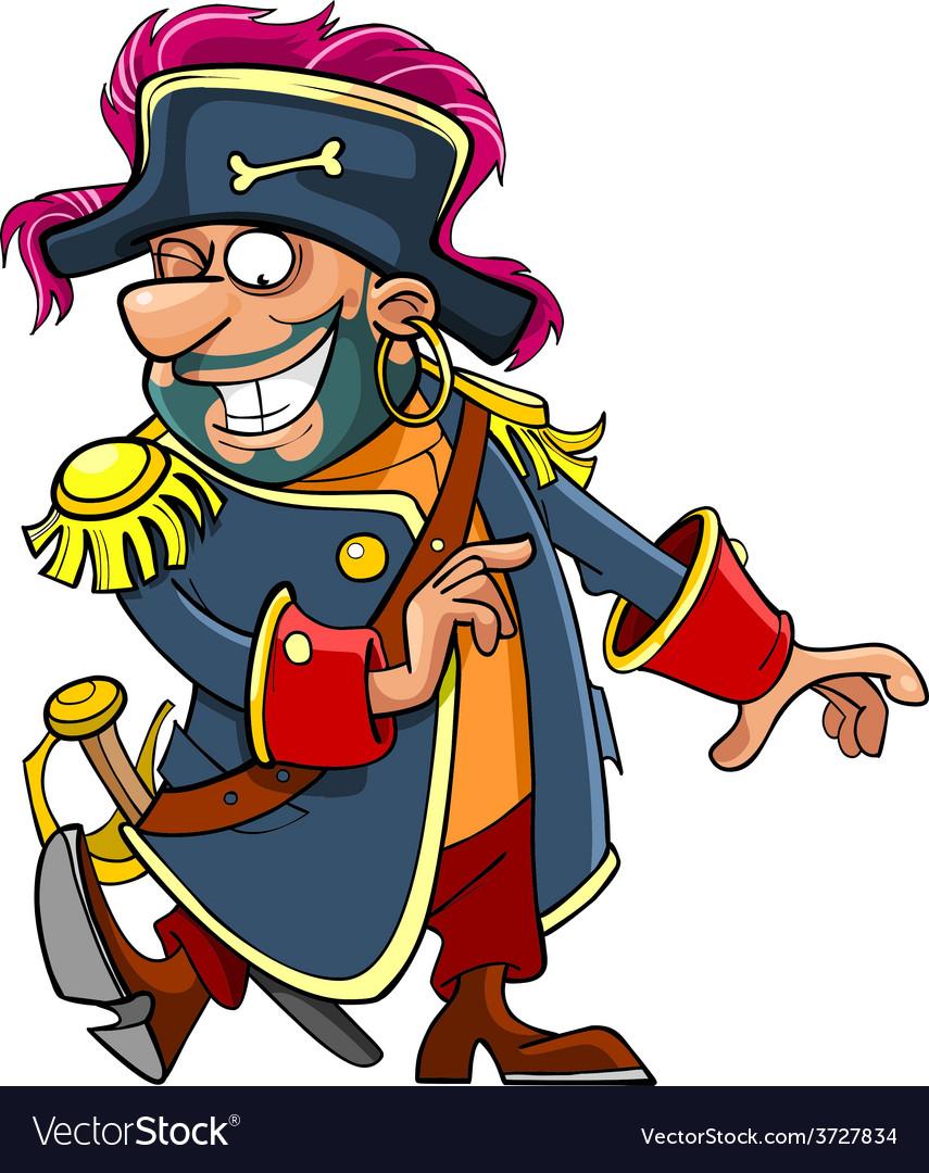 Cartoon funny pirate dancing vector | Price: 3 Credit (USD $3)