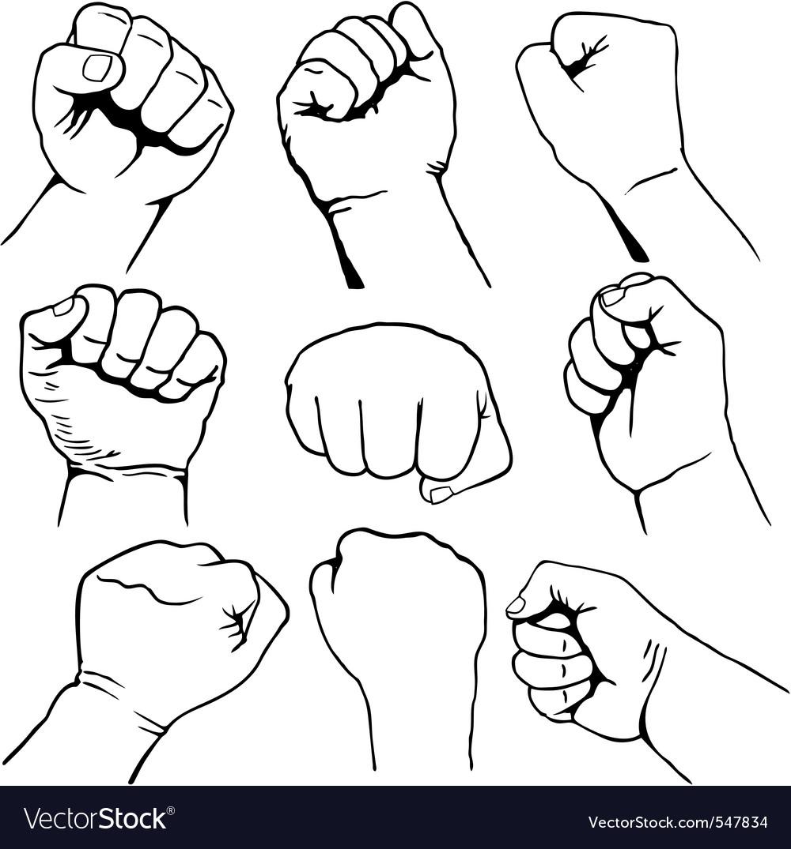 Fists set vector