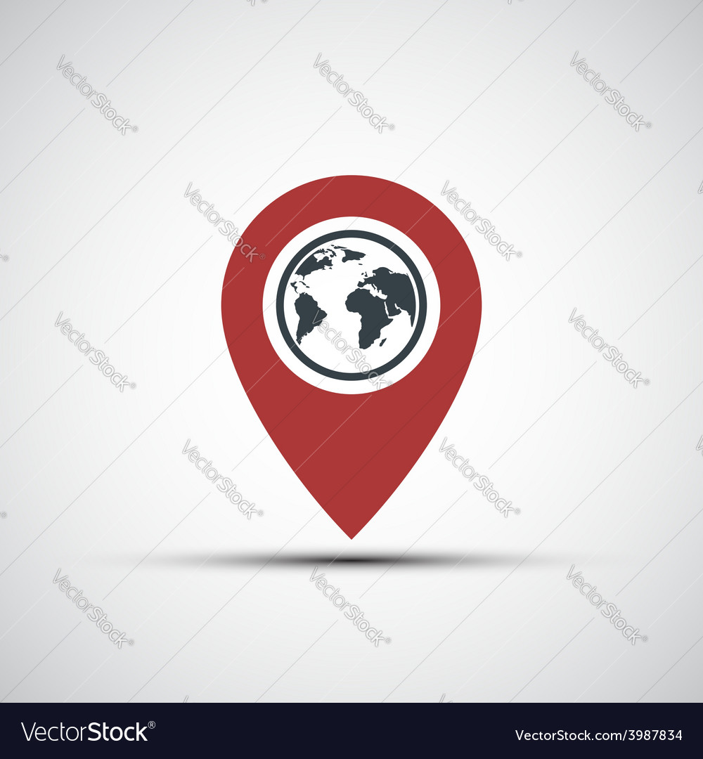 Icon pointer with the planet earth vector   Price: 1 Credit (USD $1)