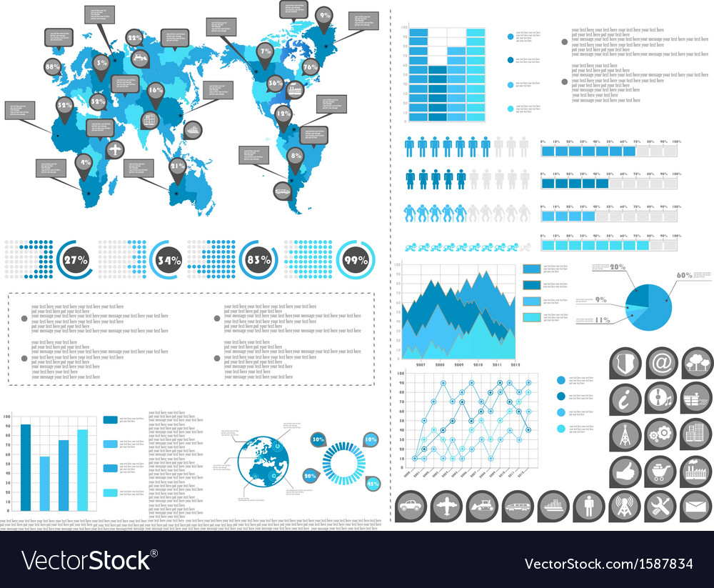 Infographic demographics blue 2 vector | Price: 1 Credit (USD $1)
