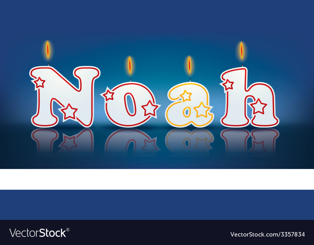 Noah written with burning candles vector | Price: 1 Credit (USD $1)