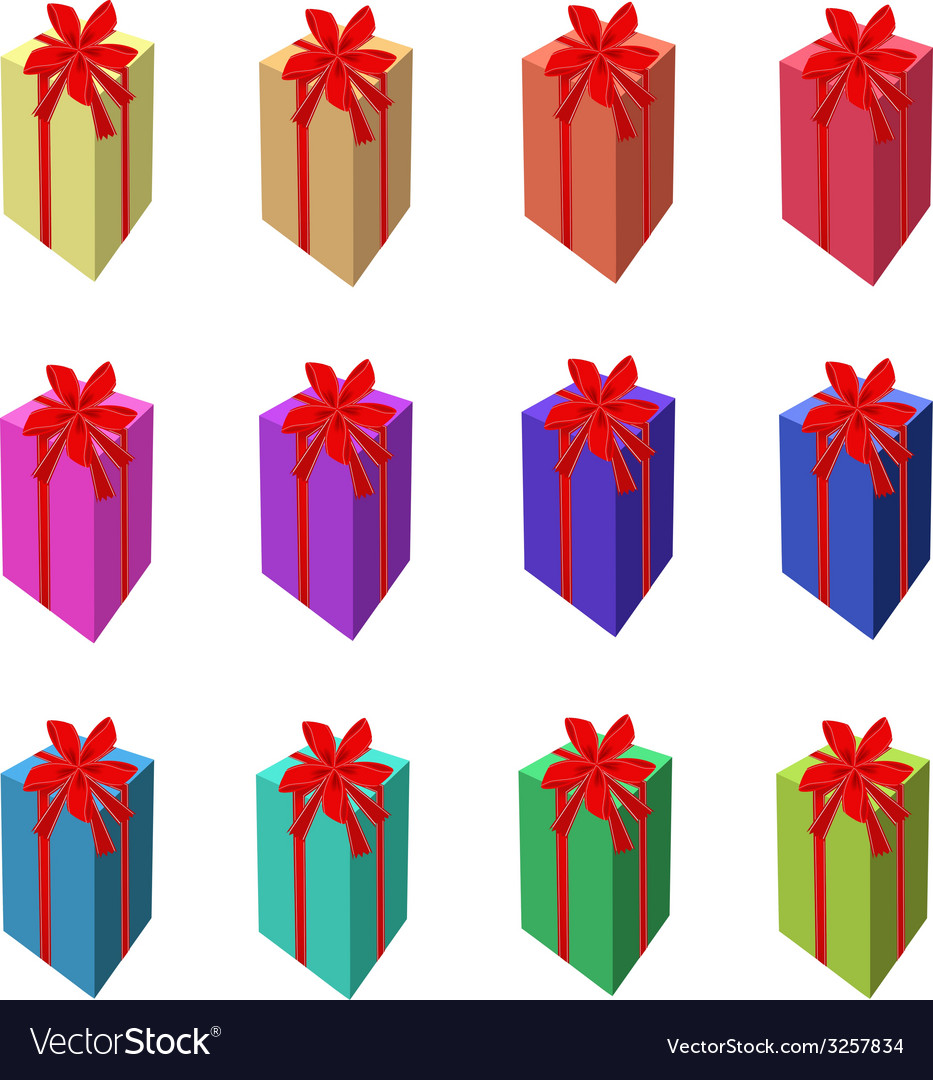 Set of tall gift box with red ribbon vector | Price: 1 Credit (USD $1)