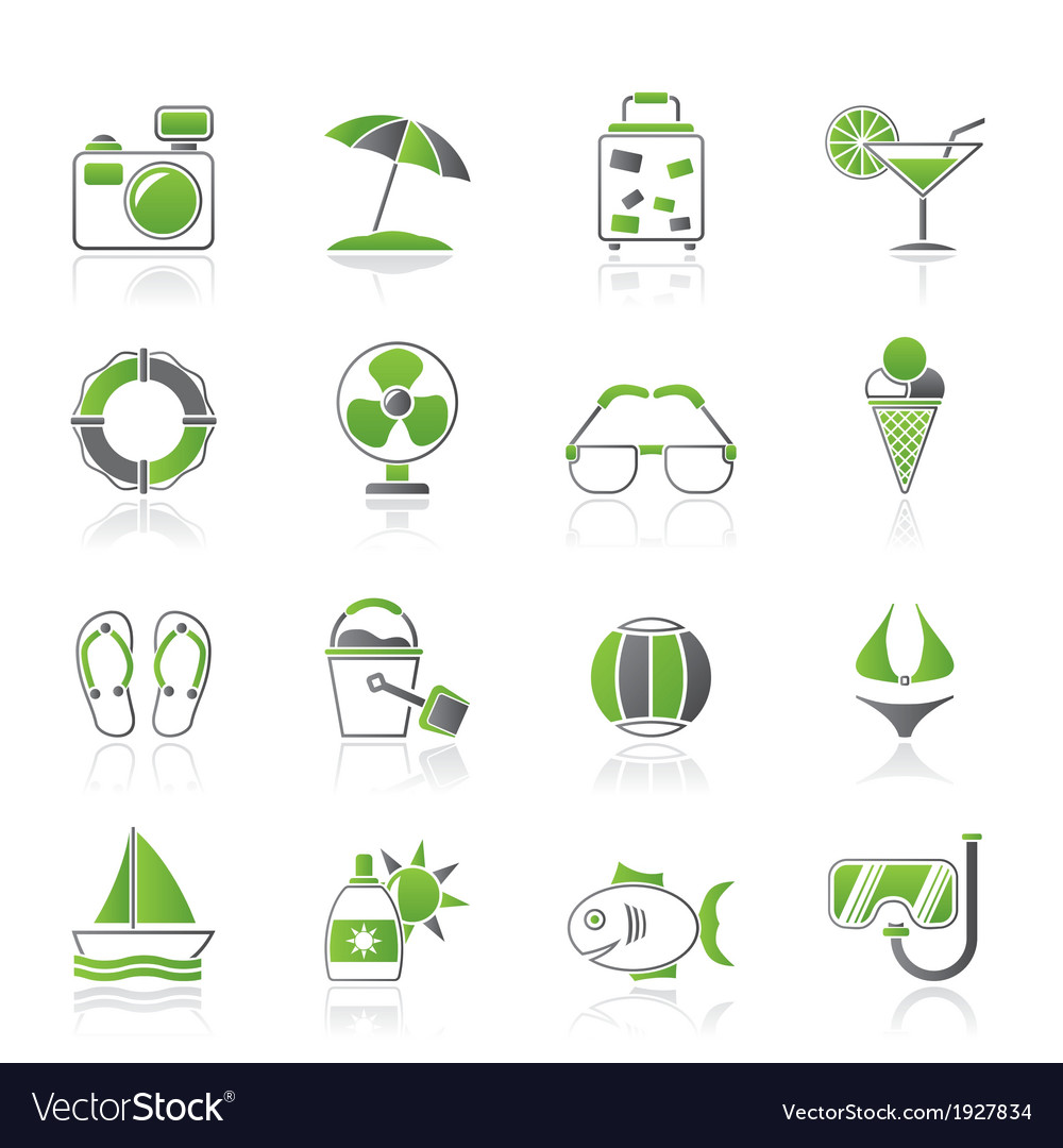 Summer and beach icons vector | Price: 1 Credit (USD $1)