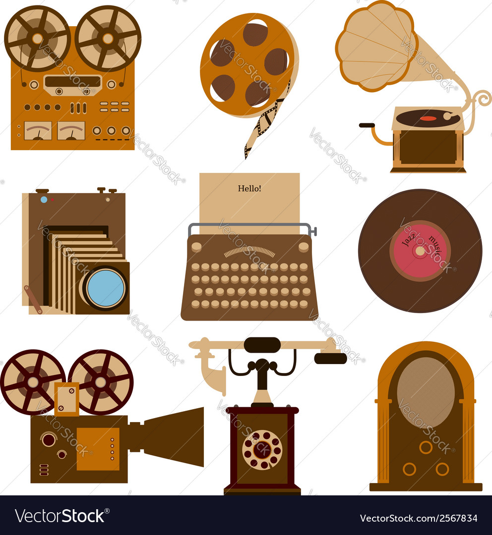 Vintage gadgets vector | Price: 1 Credit (USD $1)