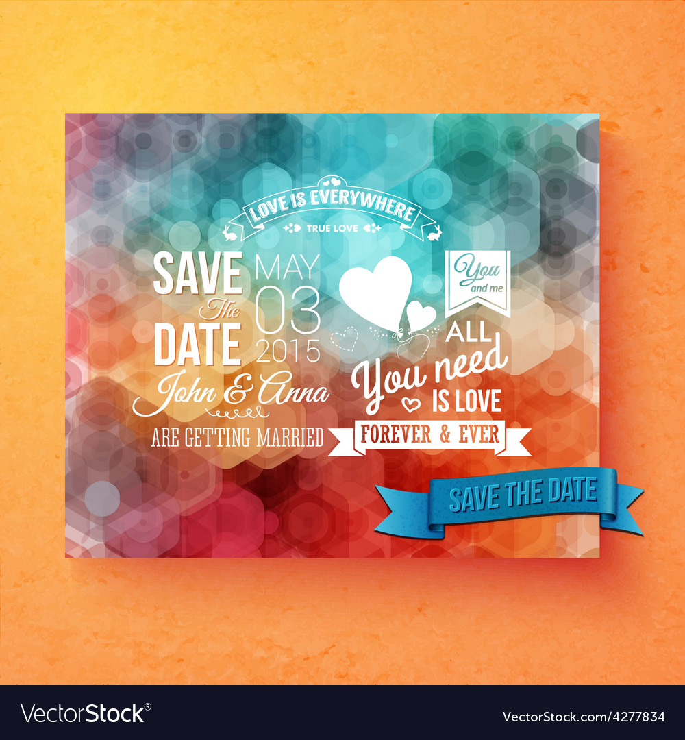 Wedding invitation template with save the date vector | Price: 1 Credit (USD $1)