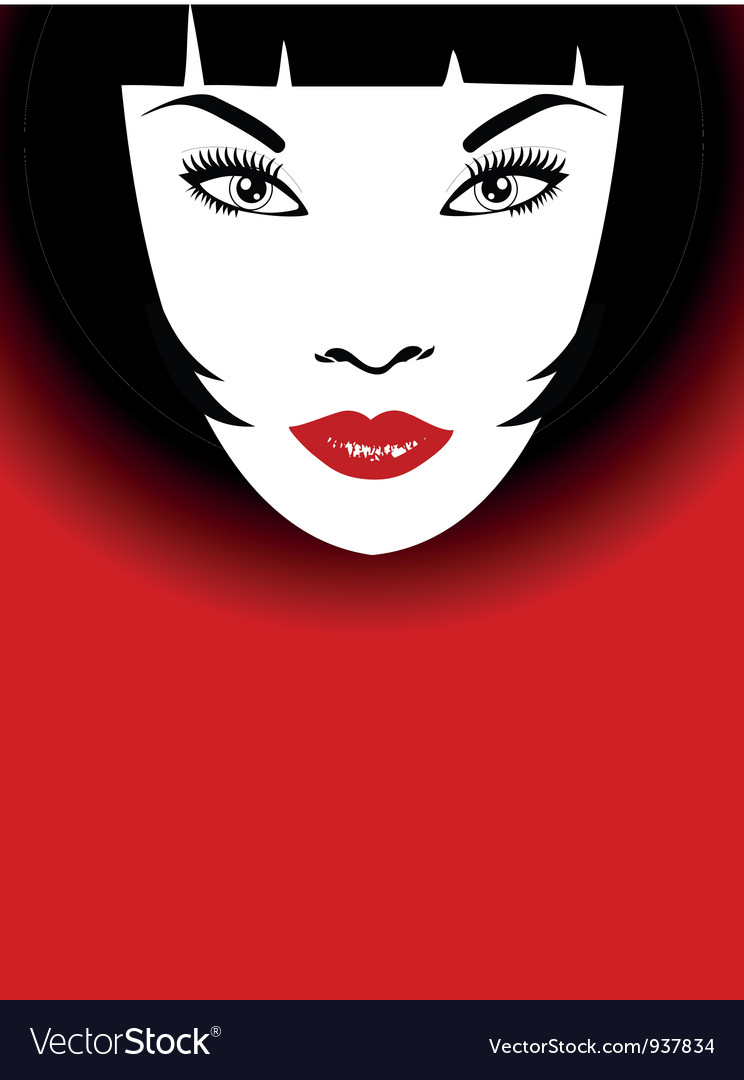 Woman with red lips and bob hairstyle vector | Price: 1 Credit (USD $1)