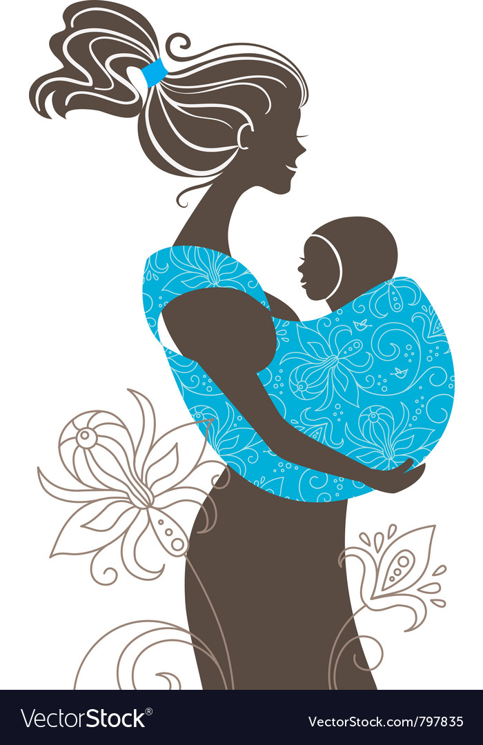 Beautiful mother silhouette vector | Price: 1 Credit (USD $1)