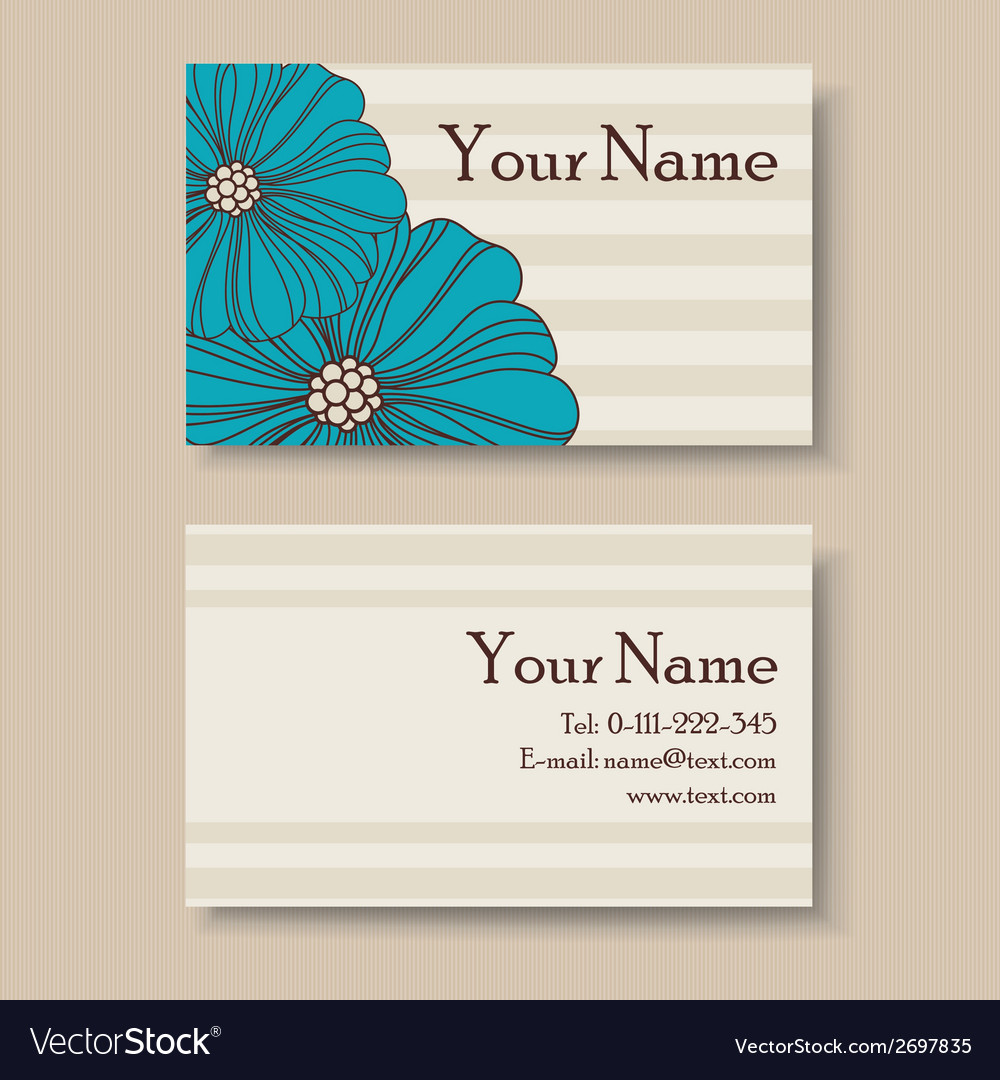 Business floral card with blue flowers vector | Price: 1 Credit (USD $1)