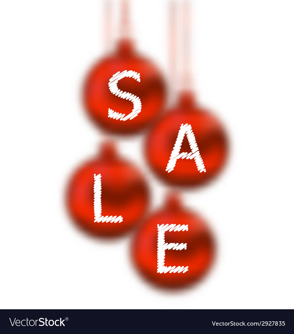 Christmas glassy balls with lettering sale vector | Price: 1 Credit (USD $1)