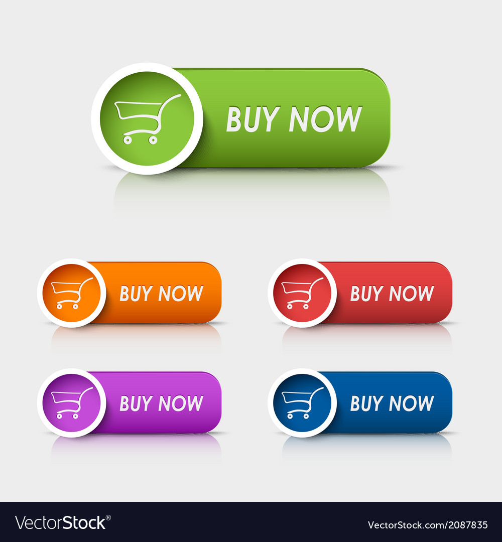 Colored rectangular web buttons buy now vector | Price: 1 Credit (USD $1)