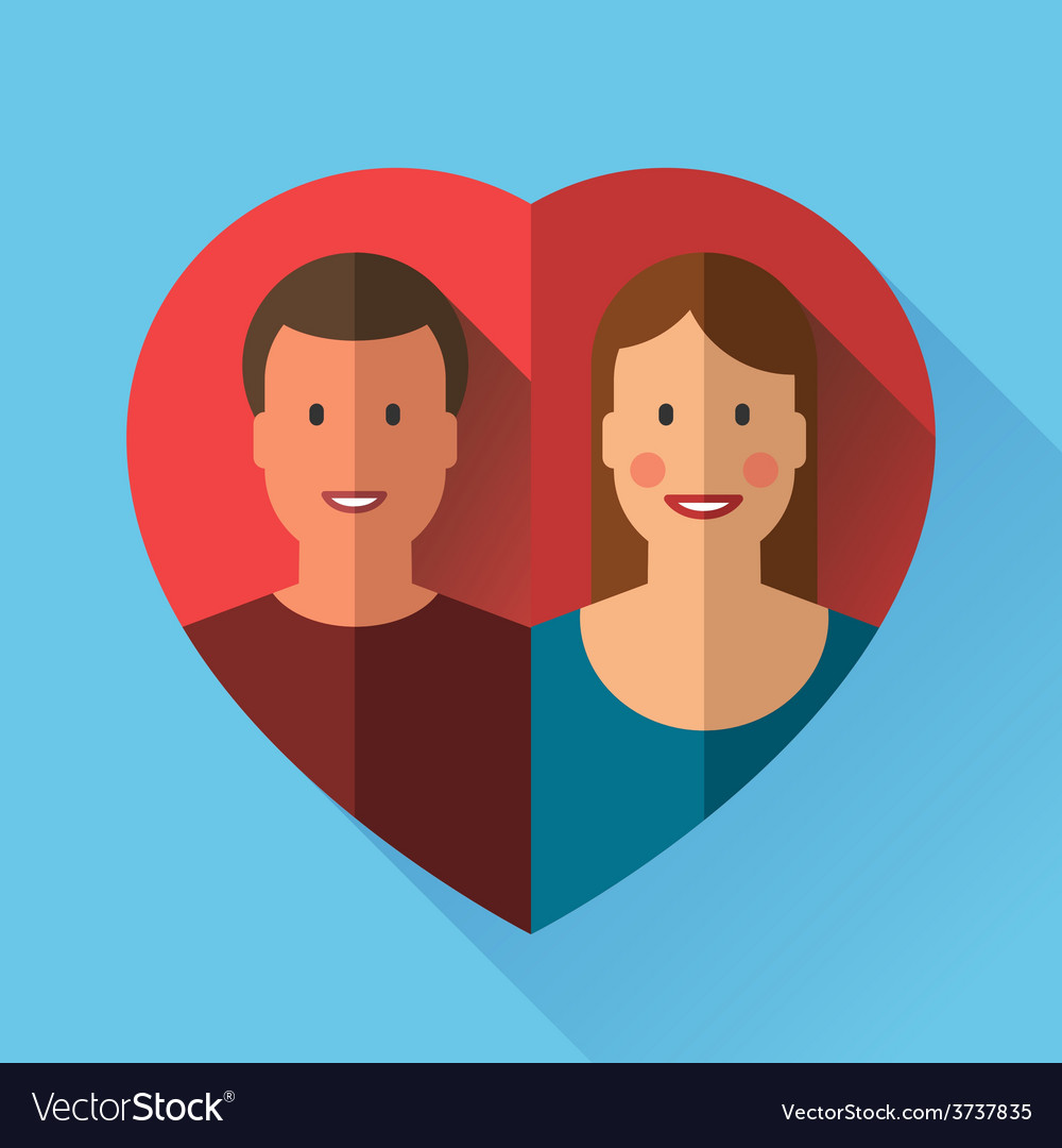 Couple of lovers in heart flat vector | Price: 1 Credit (USD $1)
