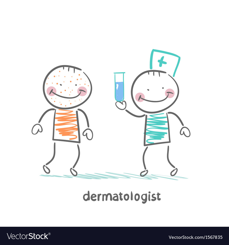 Dermatologist giving medicine patient vector | Price: 1 Credit (USD $1)