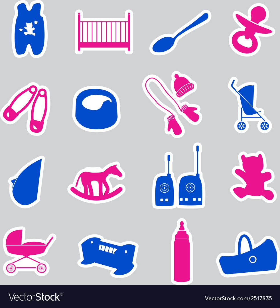 Equipment for baby stickers set eps10 vector | Price: 1 Credit (USD $1)