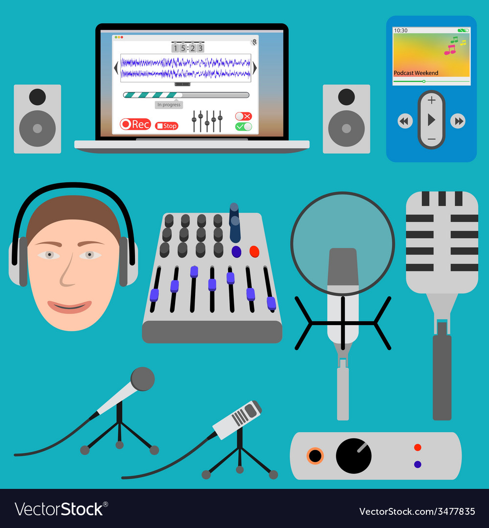 Equipment for podcasting and laptop player vector | Price: 1 Credit (USD $1)