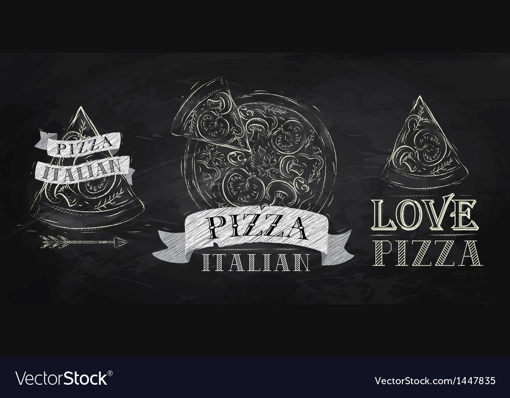 Pizza symbol icons chalk on the blackboard vector | Price: 1 Credit (USD $1)