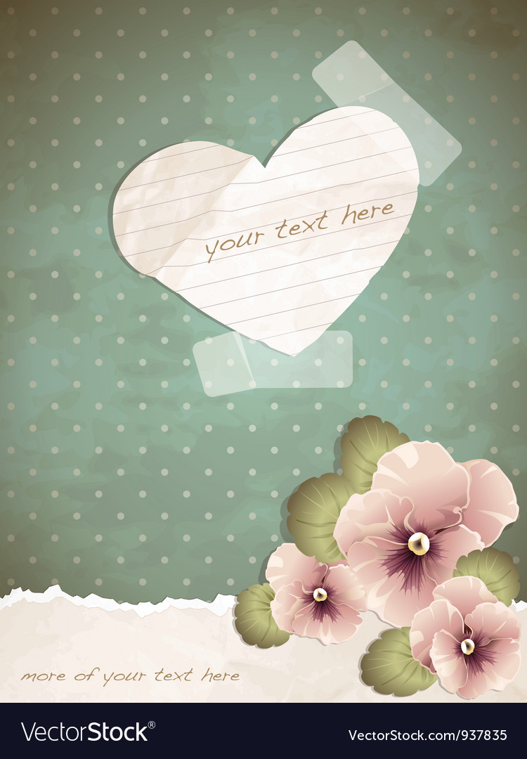 Romantic vintage with a paper heart vector