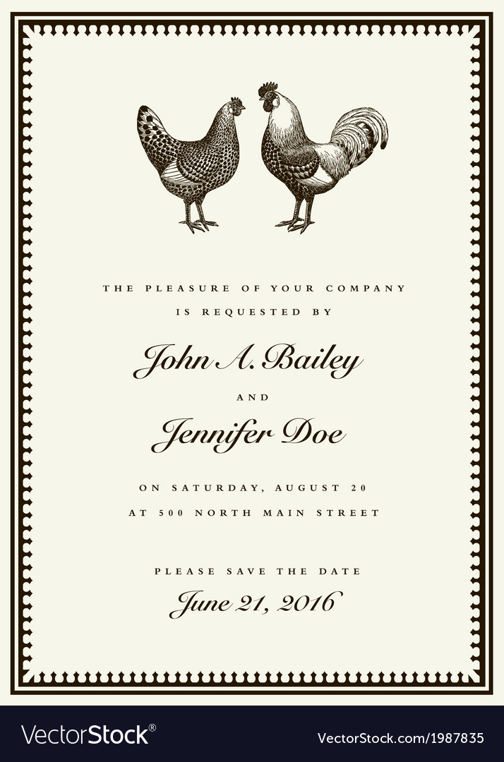 Rooster and hen wedding invite vector | Price: 1 Credit (USD $1)