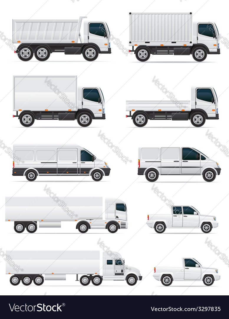 Set of icons cars and truck for transportation of vector | Price: 3 Credit (USD $3)