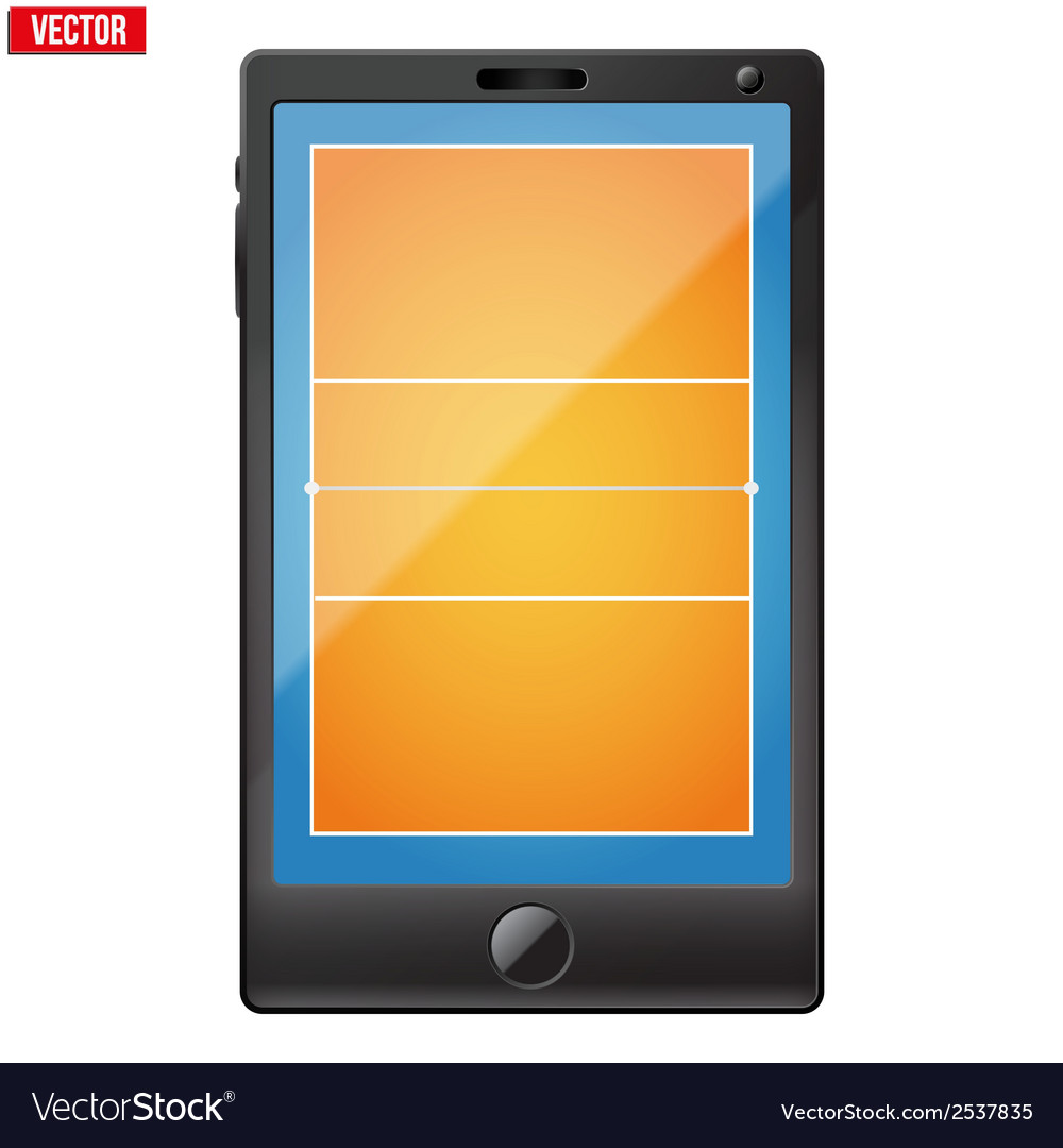 Smartphone with a volleyball field on the screen vector   Price: 1 Credit (USD $1)