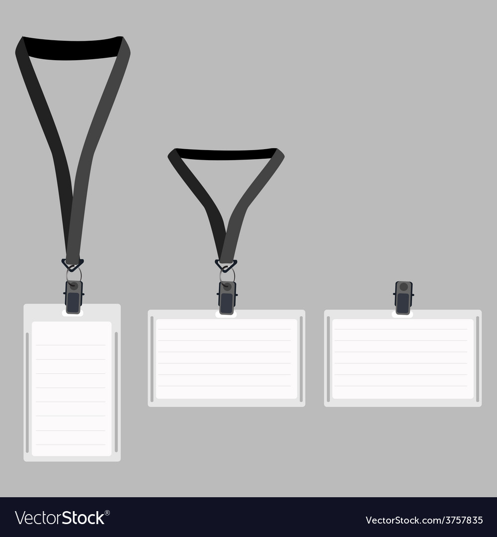 Three white lanyard with grey holder vector | Price: 1 Credit (USD $1)