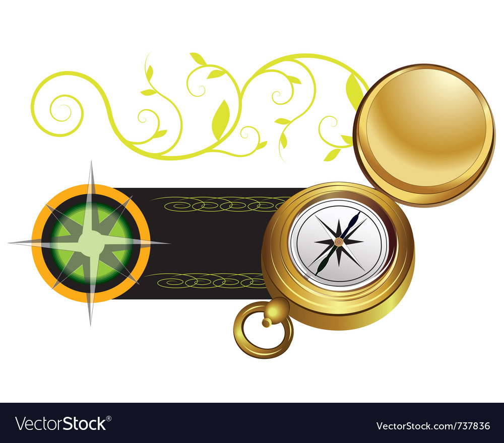 Banner with a compass and wind rose vector | Price: 3 Credit (USD $3)