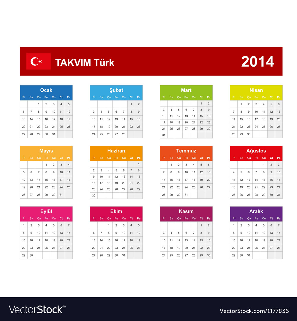 Calendar 2014 turkey type 10 vector | Price: 1 Credit (USD $1)