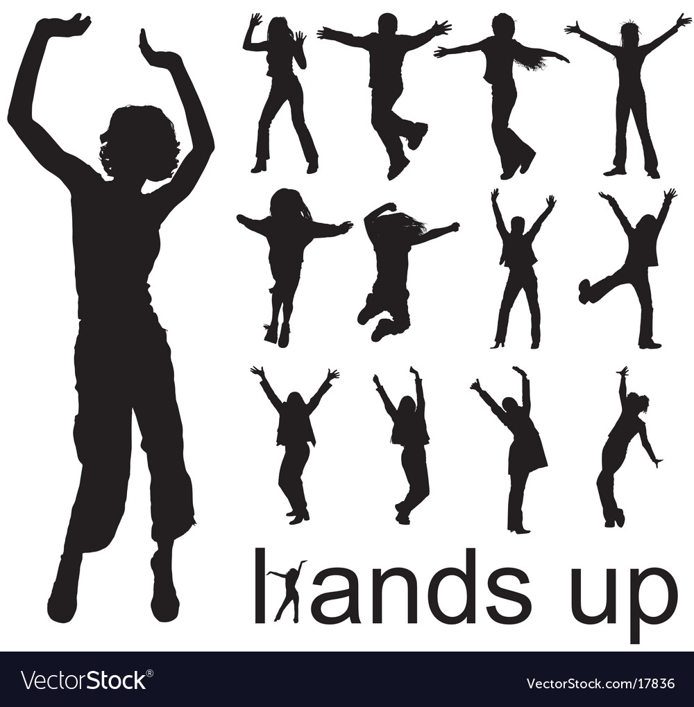Hands up people silhouettes vector | Price: 1 Credit (USD $1)