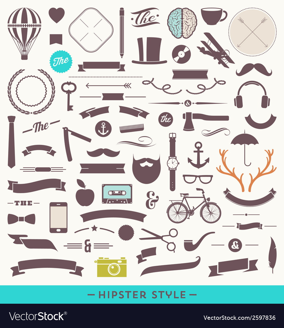 Hipster style set vector | Price: 1 Credit (USD $1)
