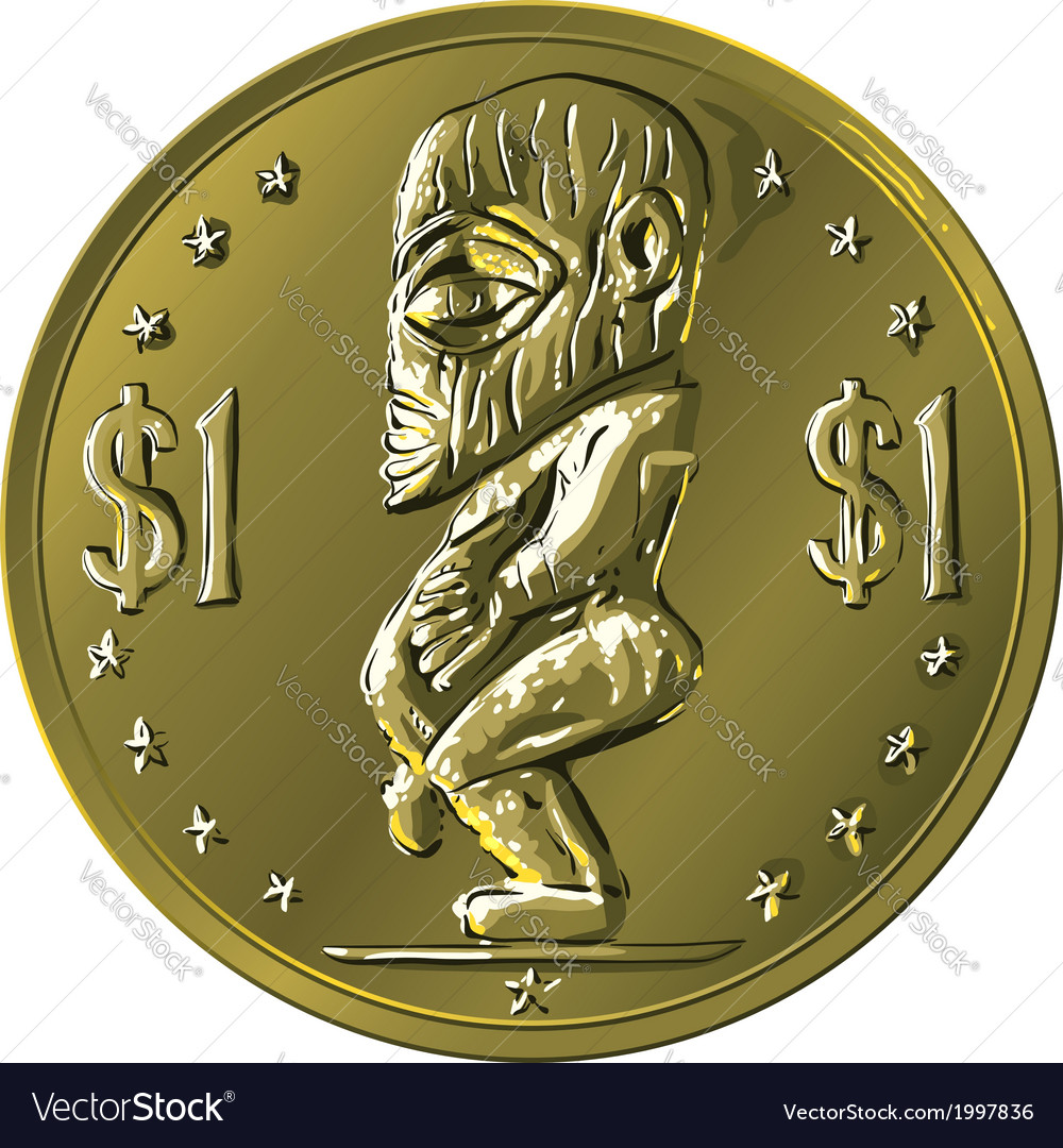 Money gold coin cook islands dollar vector   Price: 1 Credit (USD $1)